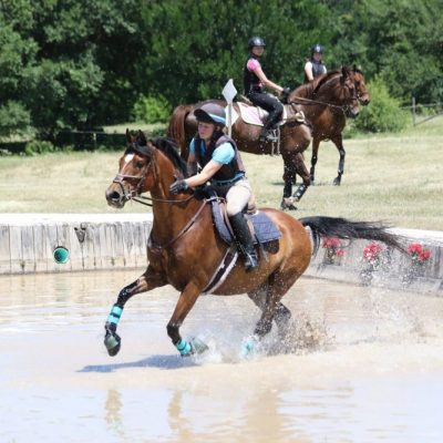 Bay horse runs through water jump on cross country course with grass field and trees and two horses in the background