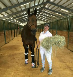 Rider wearing white show clothes holds a flake of hay and a rope next to her bay horse after a show for Christina Hall